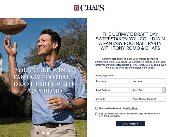 Ultimate Draft Day Sweepstakes: Win a Fantasy Football Party With Tony Romo & Chaps Sweepstakes