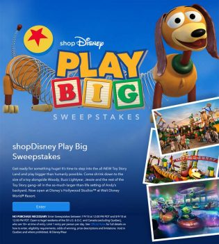 shopDisney Play Big Sweepstakes