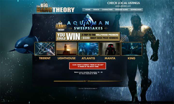 Big Bang Theory Aquaman Sweepstakes | Sweepstakes PIT