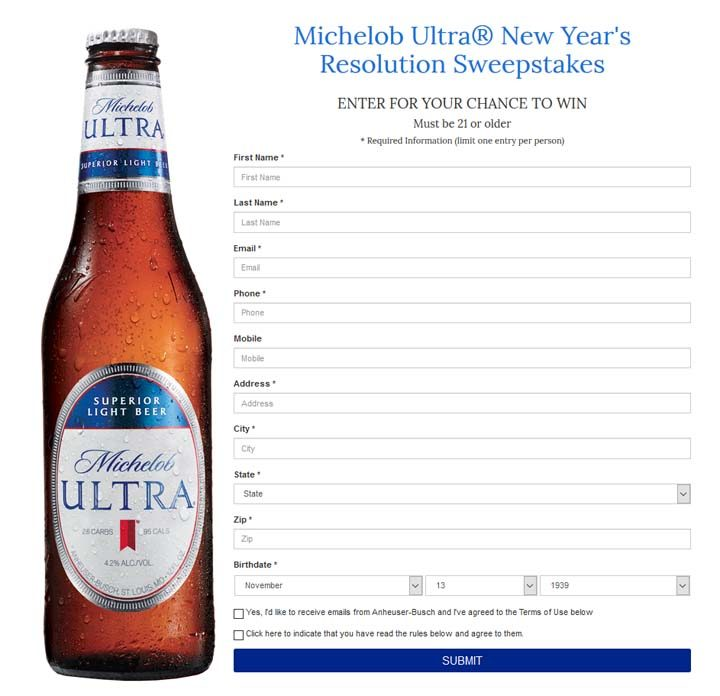 michelob-ultra-new-years-resolution-sweepstakes