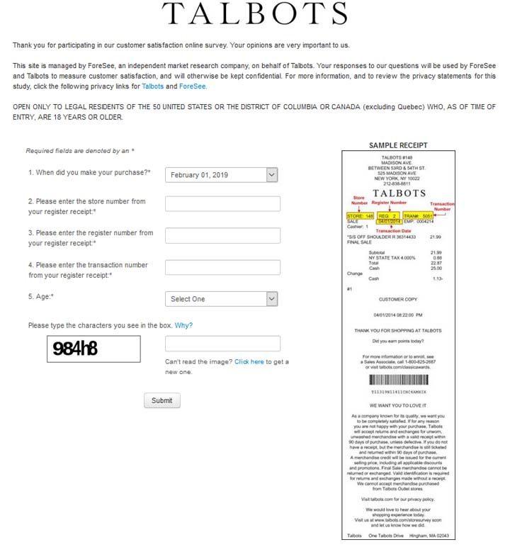 talbots-survey-sweepstakes