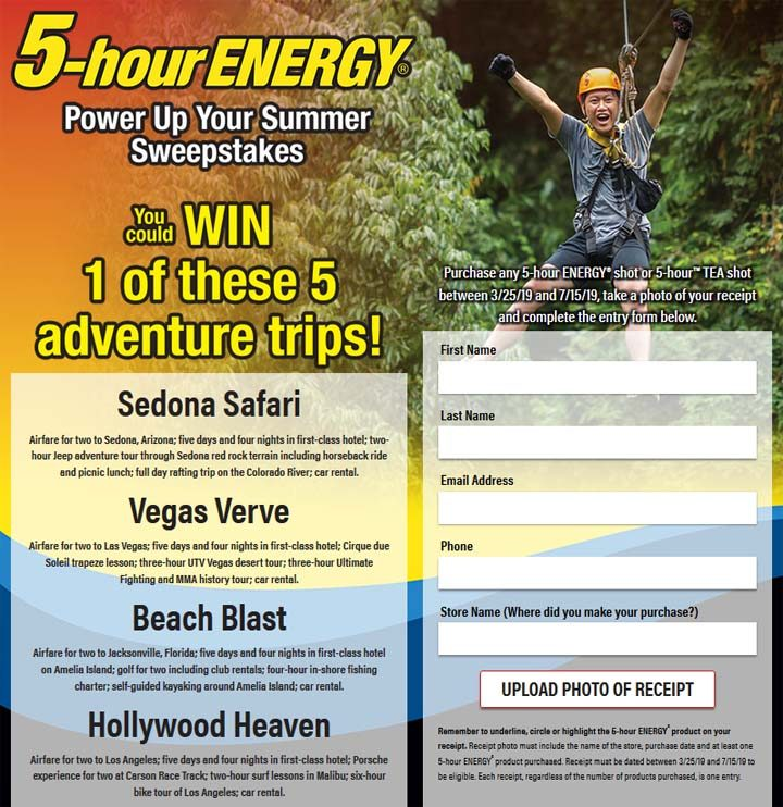 5HEWin com - 5-hour ENERGY Power Up Your Summer Sweepstakes