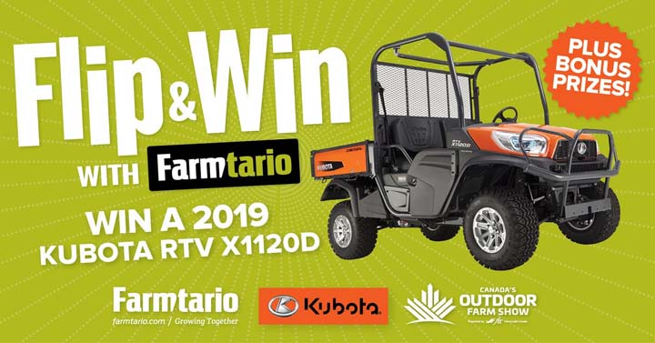 Flip & Win with Farmtario Canada's Outdoor Farm Show and Kubota Contest
