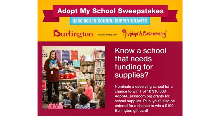 Burlington's Adopt-My-School Sweepstakes