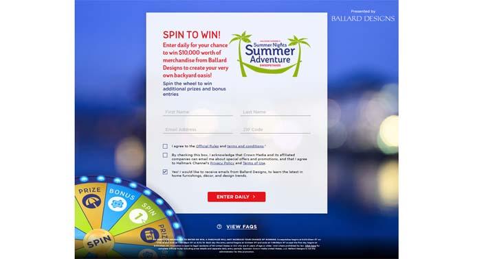 Hallmark Channel's Summer Nights Summer Adventure Sweepstakes