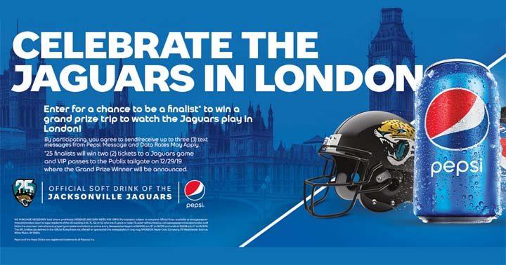 Pepsi Celebrate the Jaguars in London Sweepstakes