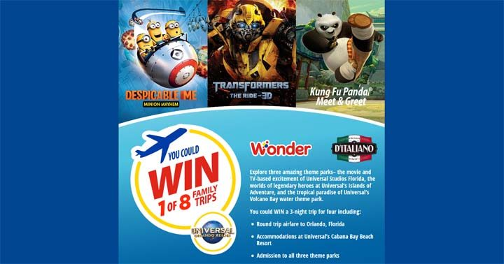 Weston Foods (Wonder D'Italiano) Win a Trip to Universal Orlando Contest
