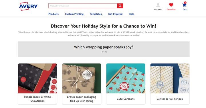 Avery Discover your Holiday Style Quiz Contest