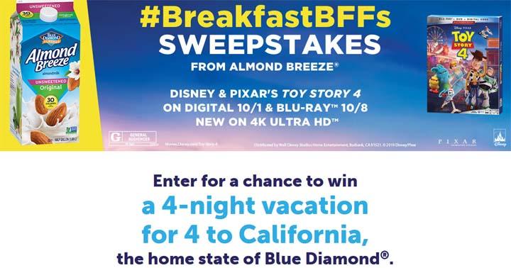 Almond Breeze Toy Story 4 BreakfastBFFs Sweepstakes