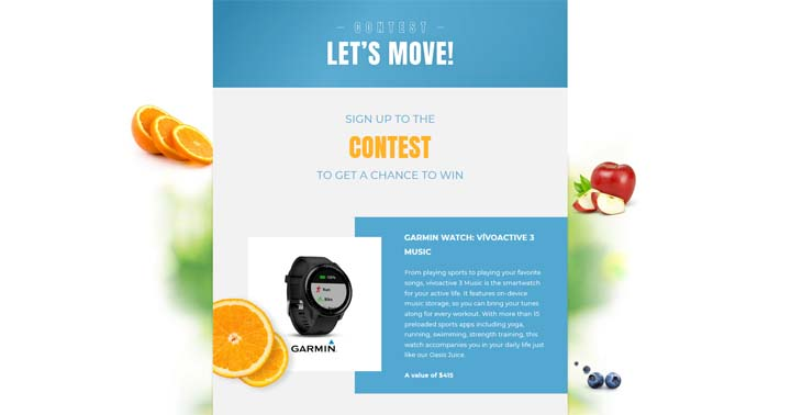 Oasis Let's Move Win a Smart Watch Contest
