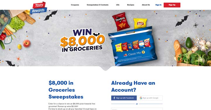 Tasty Rewards $8,000 in Groceries Sweepstakes