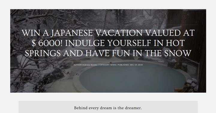 Andreea Bondoc Win a Japanese Vacation Sweepstakes
