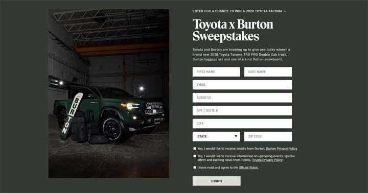 Toyota x Burton Sweepstakes