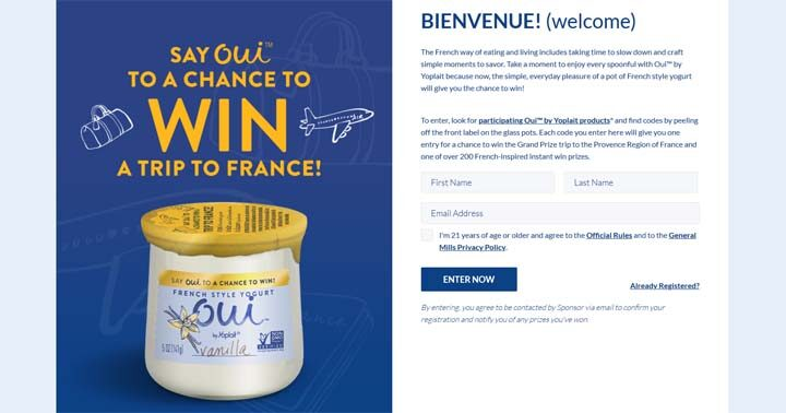 Yoplait Say Oui To The French Way Sweepstakes (OUI Sweepstakes) & Instant Win