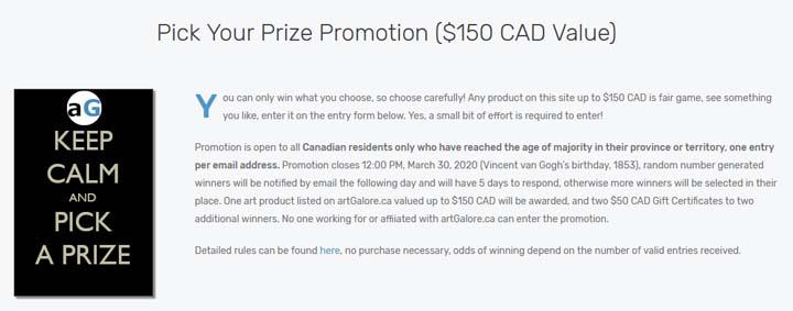 artGalore Pick your Prize Promotion