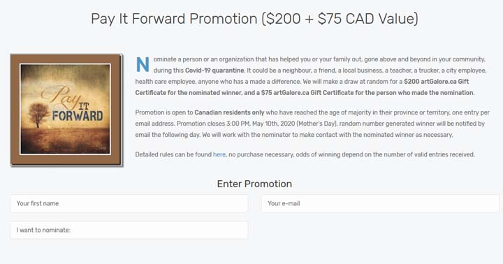artGalore Pay it Forward Promotion