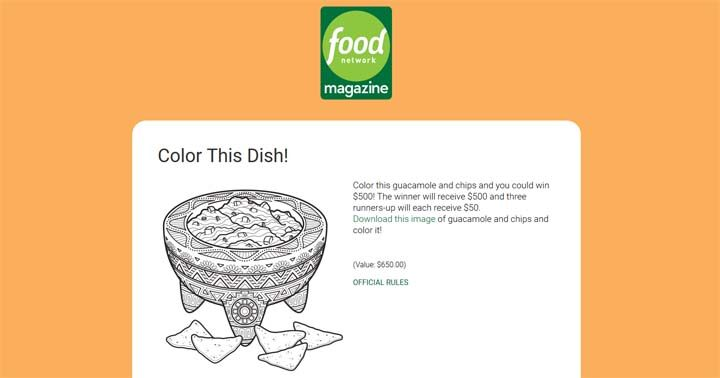 Food Network Magazine May Color This Dish Contest