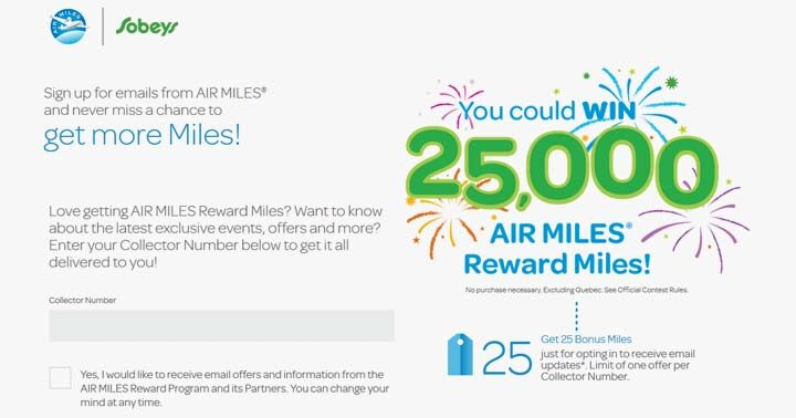AIR MILES Sobeys Email Opt-In Contest