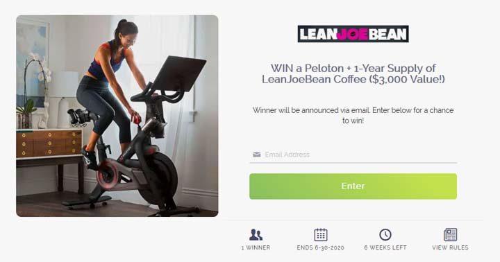 Lean Joe Bean Win a Peloton Workouts Bike Sweepstakes