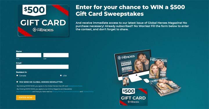 Global Heroes Visa Gift Card Sweepstakes
