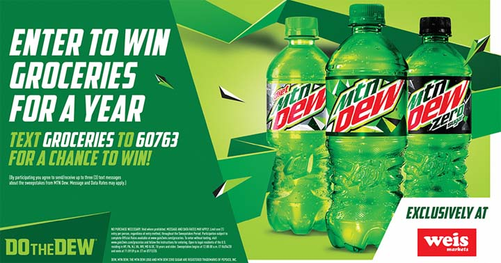 MTN DEW Year of Groceries from WEIS Markets Sweepstakes