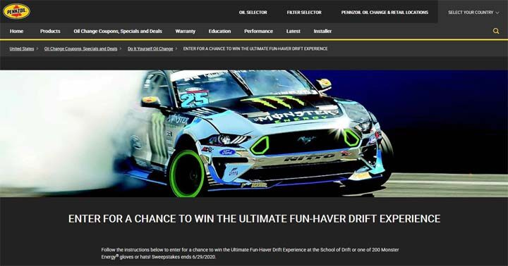 Pennzoil and AutoZone Ultimate Fun-Haver Sweepstakes