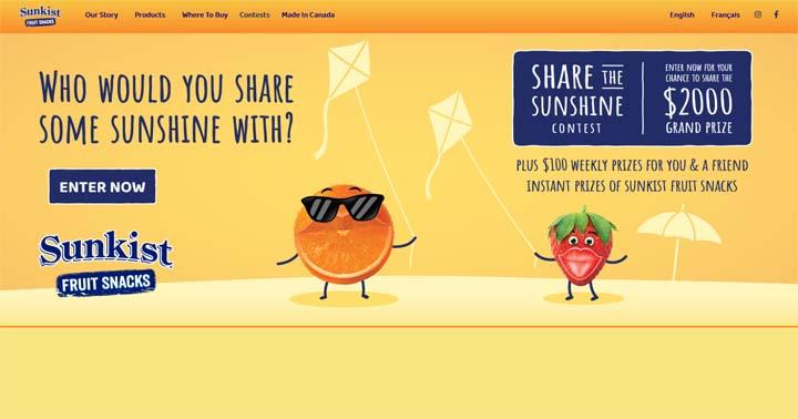 Sunkist Fruit Snacks Share the Sunshine Sweepstakes