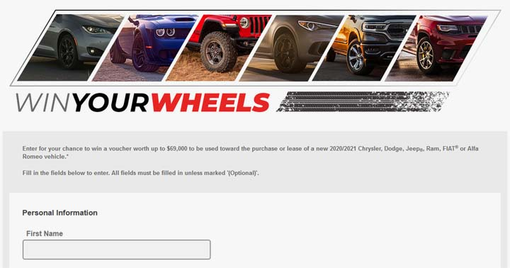 FCA Win your Wheels Contest