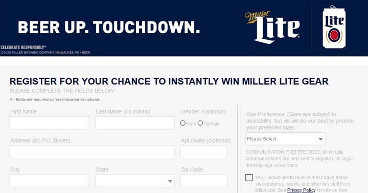 Miller Lite National Football Promotion