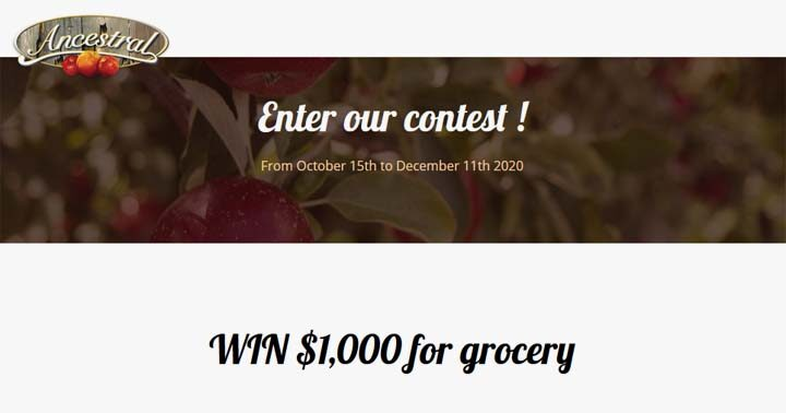 Ancestral Vinegar $1,000 Grocery Giveaway Contest