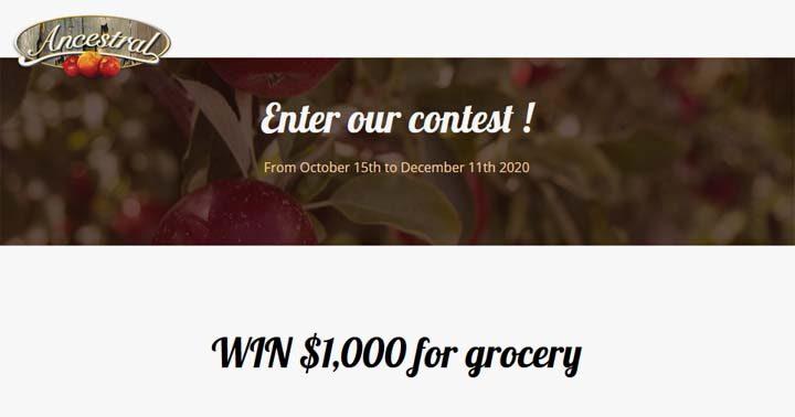 Ancestral Vinegar $1,000 Grocery Giveaway Contest