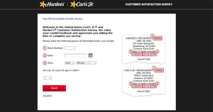 Carl's Jr. Restaurants Customer Satisfaction Survey