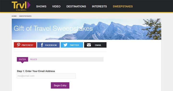 Travel Channel Gift of Travel Giveaway