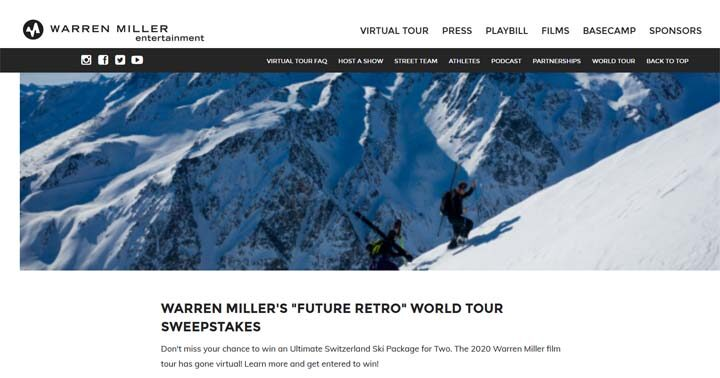 Warren Miller's Future Retro World Tour Sweepstakes