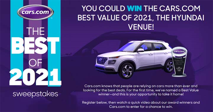 Cars.com The Best of 2021 Sweepstakes