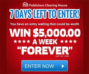 PCH Win $5,000 a Week Forever Sweepstakes 7 Days Left