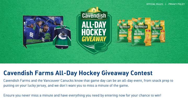 Cavendish Farms All-Day Hockey Giveaway Contest