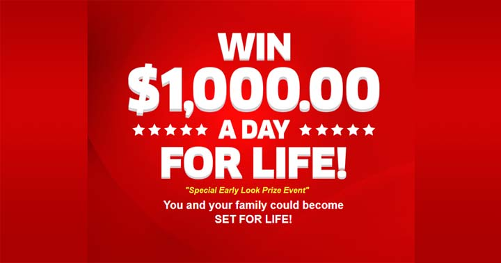 PCH Win $1,000.00 a Day for Life