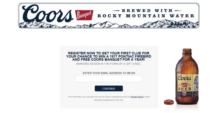 Coors Banquet Scavenger Hunt Sweepstakes