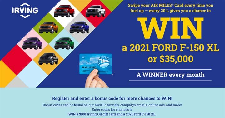 Irving Oil A Truckload of Winnings Swipe to Win Contest