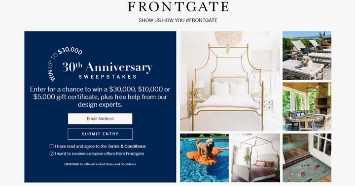 Frontgate 30th Anniversary Sweepstakes